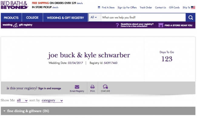 Someone made a wedding registry for Joe Buck and Kyle Schwarber