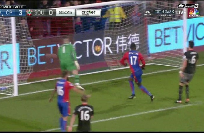Christian Benteke scores his second to add to Crystal Palace's lead