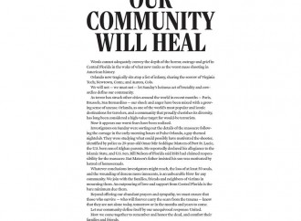 'OUR COMMUNITY WILL HEAL': Orlando newspaper publishes emotional front page editorial